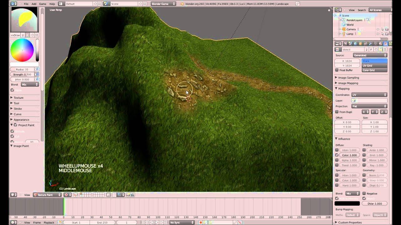 Landschaftsgestaltung mit Stencil #1 - Blender 3D Game Engine Tutorial