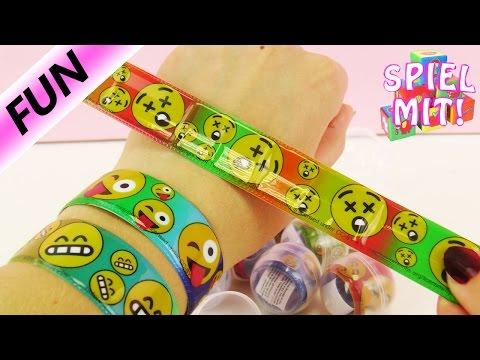 12 Emoji Schnapparmbänder aus Kaugummi Automat | lustige Smiley Wickelarmbänder