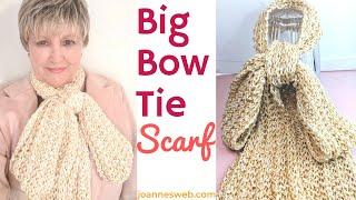 Big Bow Tie Scarf Knitting Pattern - Easy Scarf Knitting