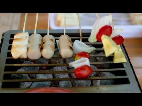 Barbacoa de carbón de sobremesa para catering y eventos