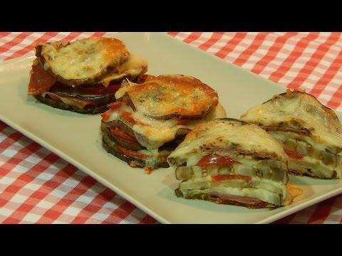 Receta de milhojas de berenjena con jamón y queso