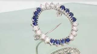 Estate Ladies Platinum 1.50ctw Round Diamond & Blue Sapphire Brooch Pin