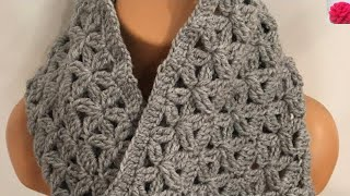 Crochet Infinity Scarf With Flowers