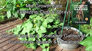 How To Care For A  Container Garden Of Cucumbers, Squash & Tomatoes: Fertilizers, Sprays & Pruning