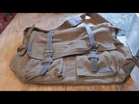 Berchirly Vintage Military Men Canvas Messenger Bag X-Large