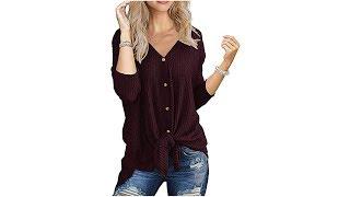 Knit Button Down Shirts Blouse