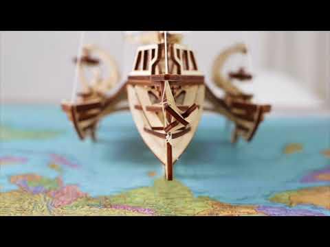 UGears 3-D Wooden Puzzle - Mechanical Trimaran Merihobus