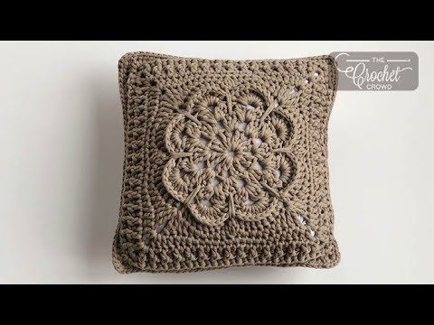 Crochet Textured Flower Pillow