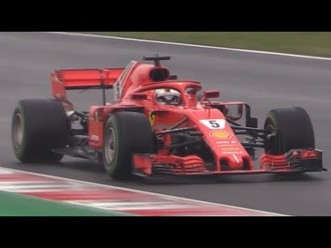 Ferrari SF71H 2018 F1 in action at Barcelona circuit-S.Vettel testing the new car