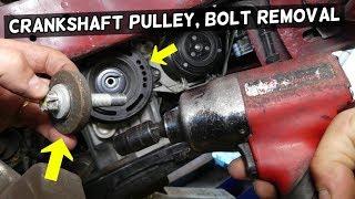 HOW TO REMOVE CRANKSHAFT PULLEY BOLT. HOW TO GET CRANKSHAFT BOLT LOOSE