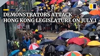 Anti Extradition Bill Protesters Try To Storm Hong Kong's Legislature On Tense Handover Anniversary