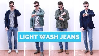 4 Ways To Wear Light Wash Jeans | Mens Outfit Ideas