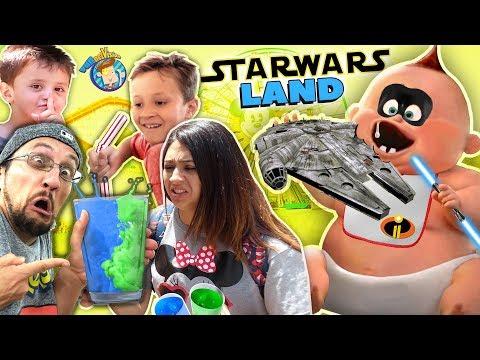 BLUE vs. GREEN MILK in STAR WARS LAND!! FV Family Rides INCREDIBLES JACK JACK Coaster