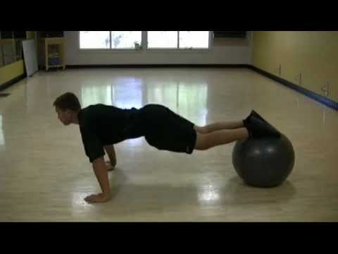 Stability Ball Atomic Push Up
