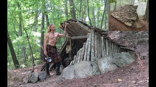 Primitive Bushcraft Shelter   Stone Roofed Lean To