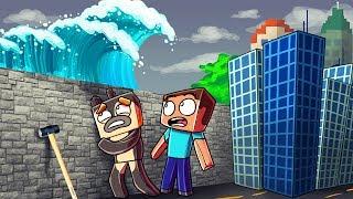 Minecraft | TSUNAMI BASE CHALLENGE 2 - Tsunami Destroys City! (Wall vs Tsunami)