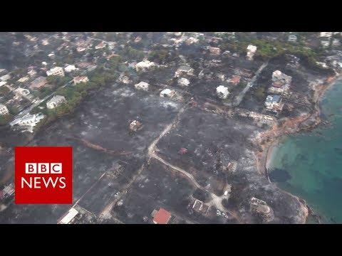 Greece wildfires: Aerial view of destruction – BBC News