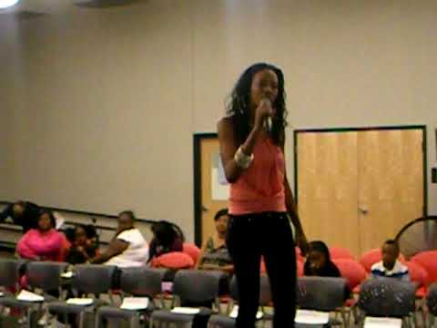 "K'Loni Sky sings cause song ""Why"" at the Boston Fashion Alliance Show (Sept. 19, 2009)"
