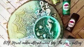 DIY Mixed Media Altered Art | Mixed Media Canvas On  Wood Slices | Wood Decorating Idea | Wood Decor