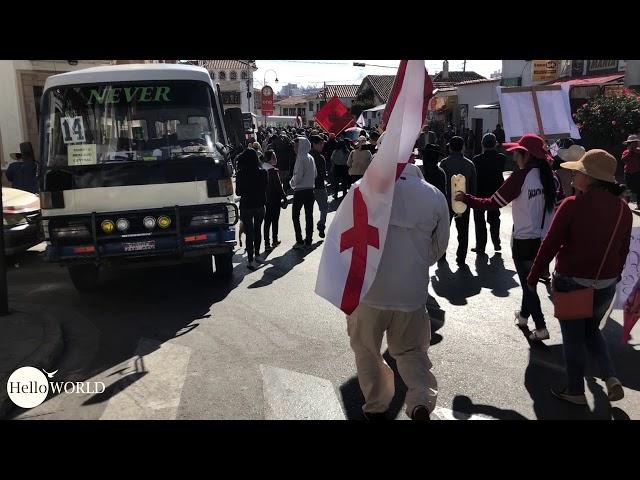Protestvorbereitungen am Stadtrand.