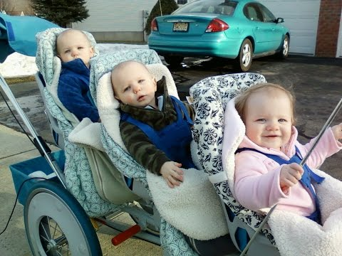 The Connolly Triplets Still Fit In Their Runabout Triplet Stroller
