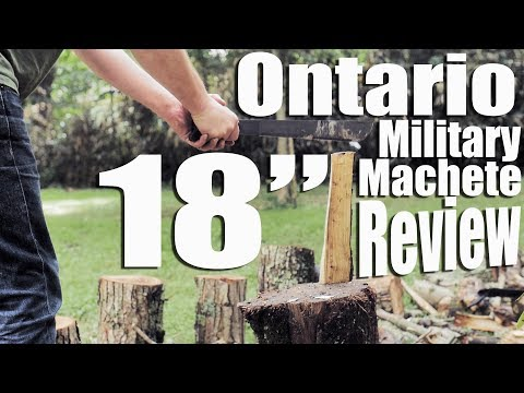 The $20 Ontario 18″ Military Machete Review with wood chopping, bamboo cutting, & boring stories