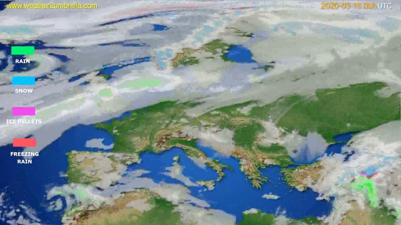Precipitation forecast Europe // modelrun: 00h UTC 2020-03-17
