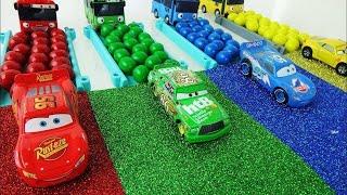 디즈니카 타요 무지개 미끄럼틀 컬러레일 캔디볼 Disney Car Pixar Lightning McQueen Tayo Bus Rainbow Slide gumball 토이튜브TV