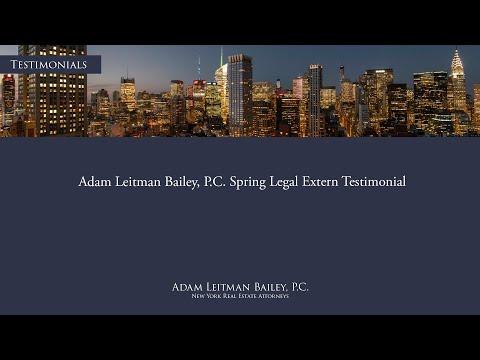 Adam Leitman Bailey, P.C. Spring Legal Extern Testimonial testimonial video thumbnail