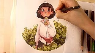 Watercolor Illustration Matcha Girl Timelapse Work In Progress Painting By Iraville