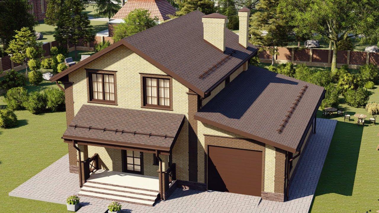 Проект дома из газобетона с мансардой 11 на 12 с гаражом на 1 авто 156 м2