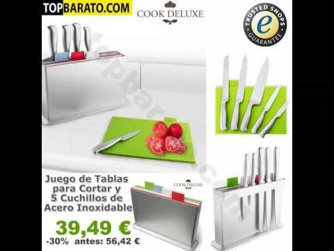 Juego de Tablas para Cortar y 5 Cuchillos de Acero Inoxidable cook deluxe en TopBarato