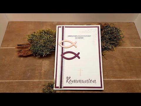 Anleitung: schlichte Einladungskarte zur Kommunion/Konfirmation/Taufe mit Stampin'Up!