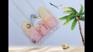 Beach Nail Art, Summer Nail Art 2020, Sand, Ombre, Feet Print, Sugar Effect, Nail Art Ideas