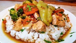 Ризотто по-цыгански. Рис с мясом и овощами в соевом соусе. Gipsy cuisine.