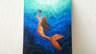 Mermaid Acrylic Painting For Beginners