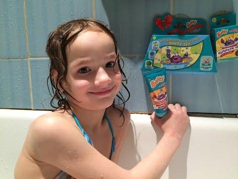 Купаемся с Баффи Синяя Зеленая ванная/Обзор набора водная вечеринкаМыльный мелок и краска