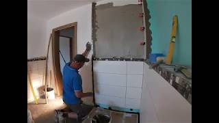 NEUE Baustelle .Fliesen verlegen ( Mosaikfliesen verlegen ) (  video 6 )