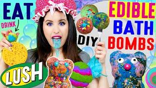 DIY Edible Bath Bombs | EAT Lush Galaxy Bathbombs | Rainbow Drink Bombs | Gummy Bear Bubble Bar!