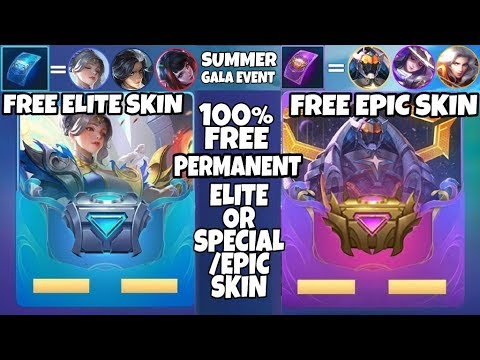 Mobile legends Summer Gala New Event Get Epic & Elite skin for free Mobile legends free skins gratis