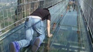 Raw: Tourists Brave Glass-Bottom Bridge
