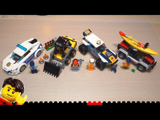 Builds ⏩ LEGO City Kayak Adventure, Construction Loader, Police Patrol Car, and Desert Rally!