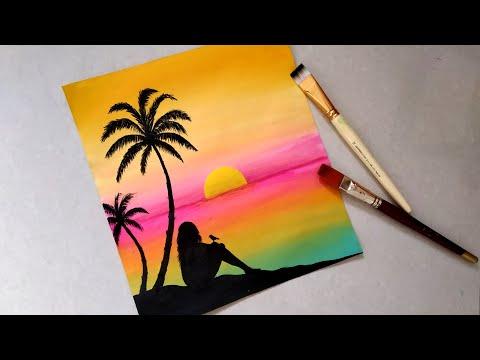 acrylic painting landscape tutorial by priya art studio