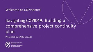 Navigating COVID-19 Webinar: Building a Comprehensive Project Continuity Plan