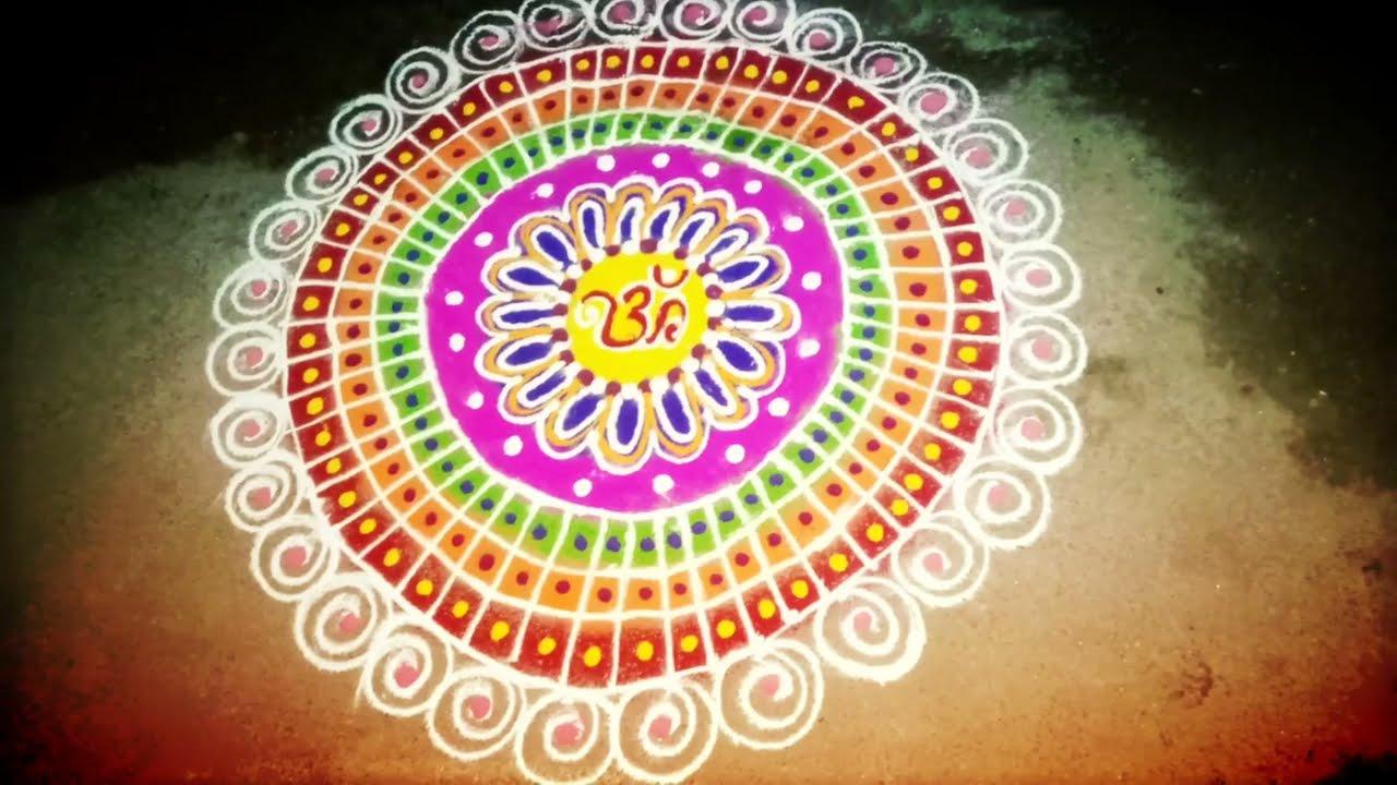 colorful aripan rangoli design for festivals