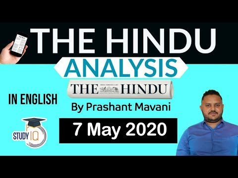 English 7 May 2020 - The Hindu Editorial News Paper Analysis [UPSC/SSC/IBPS] Current Affairs
