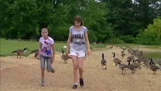 Juliana and Kristina Carver - Feeding ducks and geese (July 27, 2013)