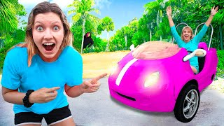 NEW SPY GADGET CAR to ESCAPE DESERTED ISLAND from MYSTERY NEIGHBOR PRANK CHALLENGE