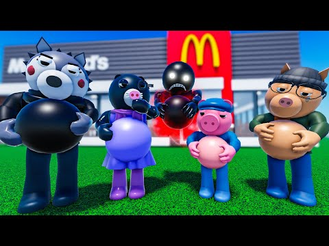 ROBLOX PIGGY But EVERYONE GETS FAT AT MCDONALDS - FT @The Meg and Mo Show ANIMATIONS REACTION