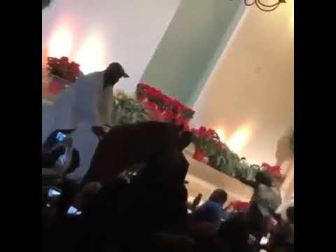 Kanye West falls off of a horse while performing show